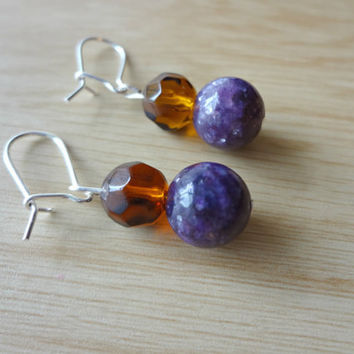 Purple Amethyst and Amber Astronomer Earrings by EudaimoniaJewelry