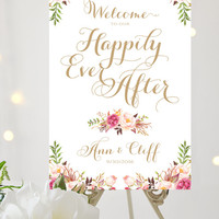 Welcome to our Happily Ever After Sign | Various Sizes | Add Your Names | Vintage | Antique Gold | I Create and You Print