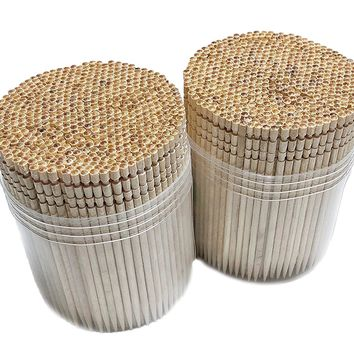 Makerstep High Quality Ornate Wooden Toothpicks with Holder, 1000 pcs (2 Packs of 500 pcs)