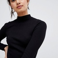 Bershka basic ribbed high neck sweater at asos.com
