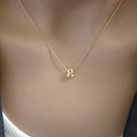 Gold Initial Necklace - 14K SOLID GOLD Your Letter, Cable Chain, Ultra Feminine Initial Monogram Necklace