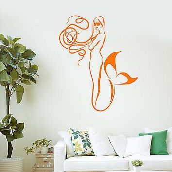 Wall Vinyl Sticker Decal Mermaid Bathroom Decor Kids Room Art Unique Gift (ig2120)