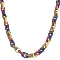 "Men's Multi Color Iced Out Custom Hermes Link 18-24"" Necklace"