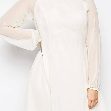 Plus Size Cut Out Back Chiffon Dress with Sheer Sleeves