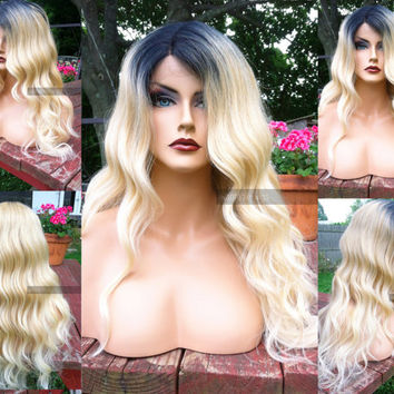 U.S.A. // Heat SAFE Wavy Blonde BABY Hair LACE Front & Part Ombre Wig w/ Dark Roots