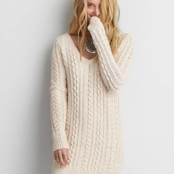 AEO Cable Knit Sweater Dress, Cream
