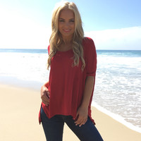 Freedom Jersey Blouse In Red