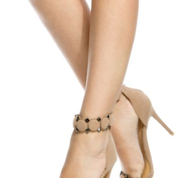 Nude Faux Suede Ankle Strap Single Sole Heels @ Cicihot Heel Shoes online store sales:Stiletto Heel Shoes,High Heel Pumps,Womens High Heel Shoes,Prom Shoes,Summer Shoes,Spring Shoes,Spool Heel,Womens Dress Shoes