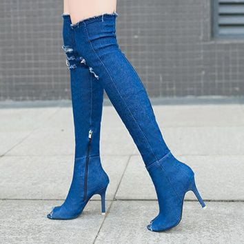Summer Women High Heel Shoes Tassel Stiletto Pen Toe Denim Boots Over The Knee Thigh H