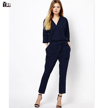Fashion Women 2016 Jumpsuits Spring Autumn Bodysuit Half Sleeve V Neck Casual Elegant Ladies Long Romper Overall Free shipping
