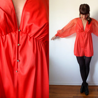 Sheer Tangerine Romper 60's 70's Long Sleeve Jumpsuit Shorts Disco