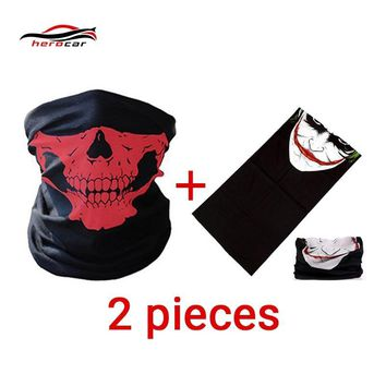 HEROBIKER 2 pieces Motorcycle Mask Balaclava Skull face shield Ghost Biker Maske Motor Windproof Caps Helmet Bandana Headwrap