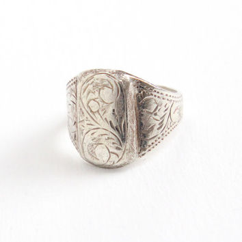 Vintage Sterling Silver Siam Ring - Size 5 1/2 Intricate Etched Design Statement Jewelry Hallmarked Siam