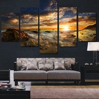 Unframed 5 Piece The Sea and Setting Sun Modern Home Wall Decoration Canvas Picture Art Oil Painting Print On Canvas Artworks