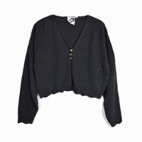Vintage 90s Grunge Sweater / Black Cropped & Crocheted Cardigan