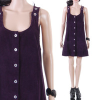 90s Purple Corduroy Jumper Dress Short Wide Wale Overall Schoolgirl Grunge Hipster A-Line Summer Vintage Clothing Womens Size Large