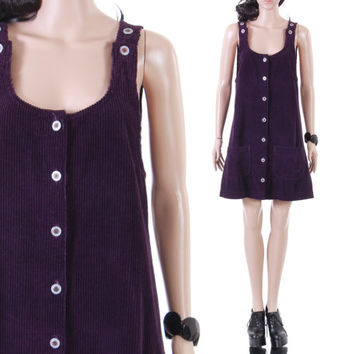 47682bd8f3 90s Purple Corduroy Jumper Dress Short Wide Wale Overall Schoolg
