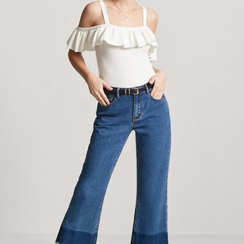 Ribbed Open-Shoulder Flounce Top