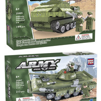 BRICTEK 25005-25007 Army Bazooka Tank and Army T-80-U Tank Building Blocks 412pcs (Compatible with Legos) with Block Remover