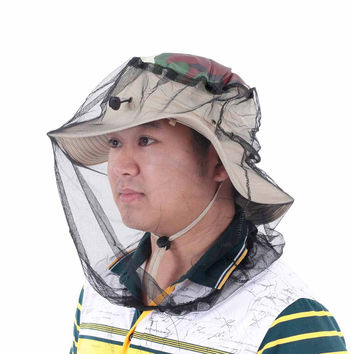 Outdoor Anti-Mosquito Bees Fly Boonie Hat Face Protection Mosquito Net Mesh Beekeeping Face Mask For Fishing Camping Hiking