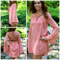 Coquette Peach Lace Back Bell Sleeve Dress