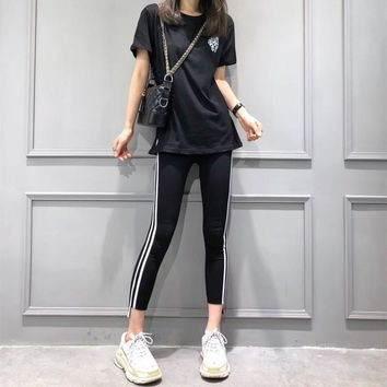 """Chrome Hearts"" Women Casual Fashion Cross Print Short Sleeve T-shirt Stripe Leggings Trousers Set Two-Piece Sportswear"