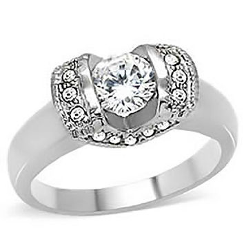 Artiste - Lovely Design Stainless Steel Engagement Ring with Round and Pave Set Cubic Zirconia stones