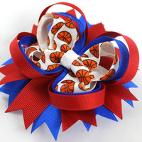 Basketball Hair Bow - Your Choice of Colors,  Custom Basketball Bow, Basketball Hair Bow, Sports Hair Bow, OTT Hair Bow, Custom Hair Bow