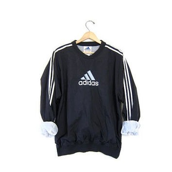 90s ADIDAS pullover jacket. Sports windbreaker sporty nylon sweatshirt. Black + White lined Sporty pullover. Medium