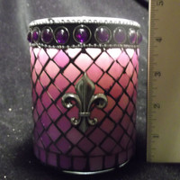 20 oz Glass Purple Jewel Fleur-de-lis Vanilla Insanity Soy Candle