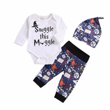 Baby Boys Girls Clothing Set 2018 Autumn Snuggle This MuggleTops Romper +Halloween Pants+Hat bebe kids Clothes Outfit