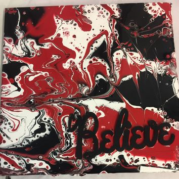 Black and White and Red 3D Believe Abstract Canvas Painting