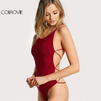 COLROVIE Strappy Backless Club Bodysuit Women Skinny Cross Back Summer Bodysuits 2018 Burgundy Sleeveless Basic Bodysuit