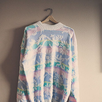 Vintage 80's Pink Blue Pastel Slouchy Chunky Sweater Hipster Outerwear Floral Sweet Women's Pullover 3XL