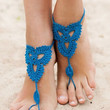 Doger Blue Cut Out Crochet Toe Ring Barefoot Sandals