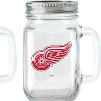 NHL Detroit Red Wings Mason Jar Drinking Cup w/ Lid and Straw