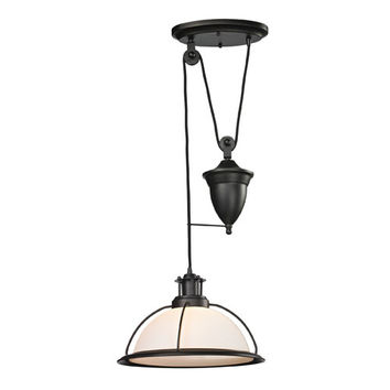 Elk Lighting 55045/1 Wilmington Oil Rubbed Bronze Adjustable Height Pulley One Light Pendant