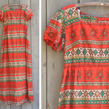 Vintage dress | Tribal print maxi dress