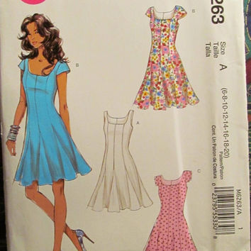 SALE Uncut McCall's Sewing Pattern, 6263! 6-8-10-12-14-16-18-20 Women's/Misses/Teens/Jr's/Flare Dress/Short/Sleeve/Sleeveless/Above Knee/Sum