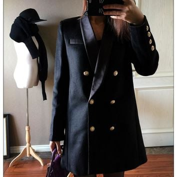 VogaIn 2016 Spring Autumn Women Limited Edition Long black wool Blazer double breasted Gold Buttons women blazers coat