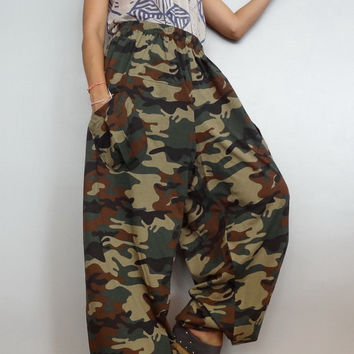 CAMO Print Elastic waist Long Trouser Unisex harem pants unique Drop crotch,Cotton Blend(pants-AJ3).