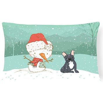 Black French Bulldog Snowman Christmas Canvas Fabric Decorative Pillow CK2085PW1216