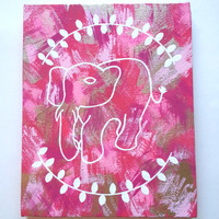Hippie Bohemian Tribal elephant acrylic canvas painting for fashionable girls room, dorm room, or home decor