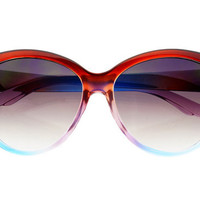 Large Rounded Cat Eye Glasses Brown Blue C394 | FREYRS - Sunglasses at Affordable Prices