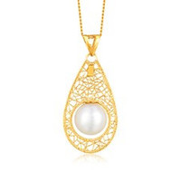 Pearl Embellished Lace Like Teardrop Motif Pendant in 14K Yellow Gold