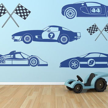 Kids Race Car Vehicles Set Removable Vinyl Wall Art Decor childrens room wall sticker racing cars track racecars boys toys racecar race flag