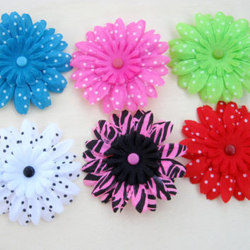 "Gerbera Daisy Flower Clips, Lot of 6, Girls 2"" Flower Hair Bow, Headband Flower with Alligator Clip"