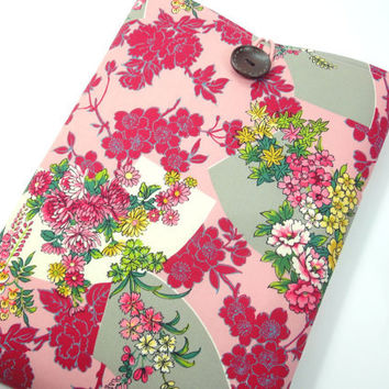 Pretty Macbook 11 Sleeves, Unique Gift For Her, Handmade Laptop Covers, Japanese Kimono Cotton Fabric Fanwise Flowers Pink