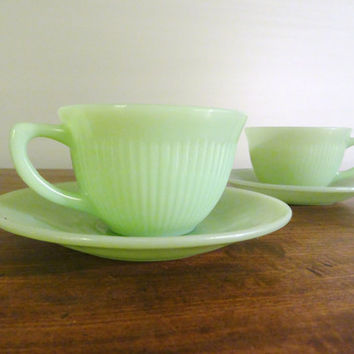 Set of Two Fire King Jadeite Teacups and Saucers in the Jane Ray Pattern 1950s Kitchen