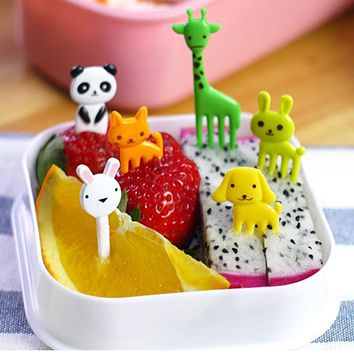 2017 10pcs/set Animal Farm mini cartoon fruit fork sign resin fruit toothpick bento lunch for children decorative plastic sign